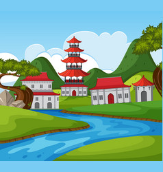 chinese theme background with many buildings by vector image