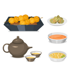 chinese tradition food dish delicious cuisine asia vector image