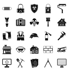 Concern icons set simple style vector