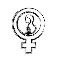 Contour girl inside woman symbol vector