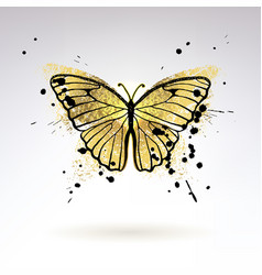 decorative glowing golden butterfly vector image