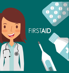 Doctor female first aid supplies elements vector