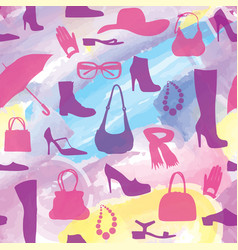fashion aaccessory shoes seamless pattern season vector image vector image