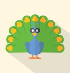 Flat Design Peacock Icon vector image vector image