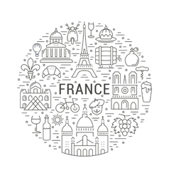 Flat Line Banner Paris and France vector image vector image