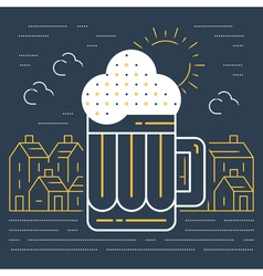 Foamy beer mug linear icon vector