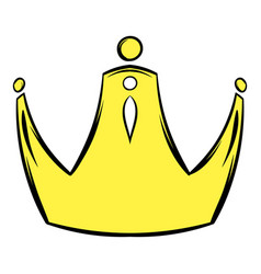 Golden crown icon cartoon vector