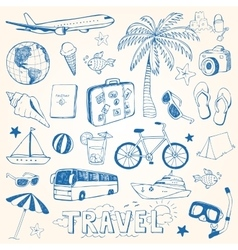 Hand drawn travel doodles vector
