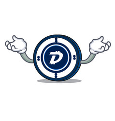 Hand up digibyte coin character cartoon vector