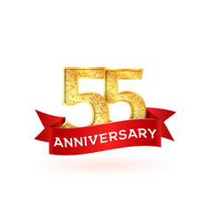 Isolated golden fifty-five birthday numbers with vector