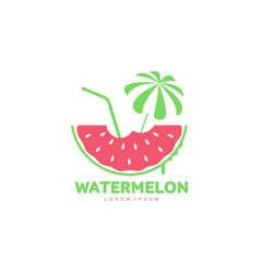 logo template with watermelon beach umbrella and vector image vector image