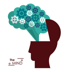 Mind silhouette head brain gears success vector