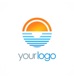 ocean horizon sun logo vector image vector image