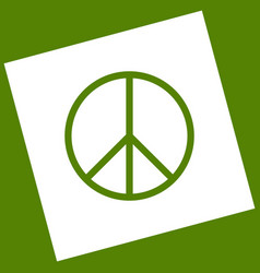 Peace sign white icon vector