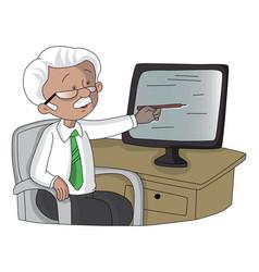 Senior man pointing at monitor screen vector