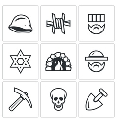 Set of Concentration Camp Icons German vector image
