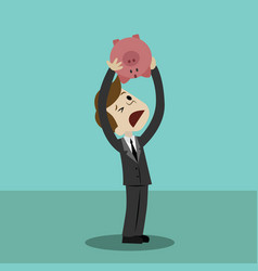 shaking out empty piggy bank loosing investment vector image vector image