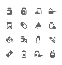 Simple Sport Supplements Icons vector image