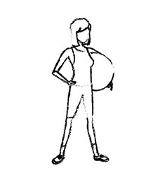 Sketch sport girl holding fitball healthy vector