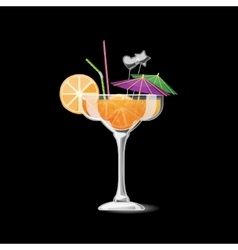 Summer tropical cocktail in glass vector image