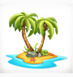 Tropical island 3d icon vector
