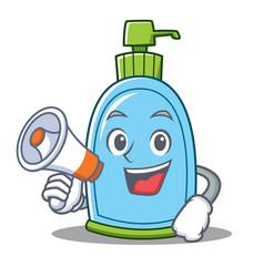 With megaphone liquid soap character cartoon vector