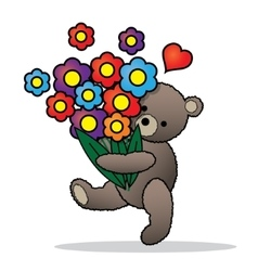 Teddy bear with the bunch of flowers vector