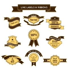 Colored conceptual label set and ribbons vector