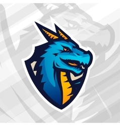 Dragon on shield sport mascot template football vector