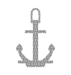 Abstract anchor silhouette with pattern vector