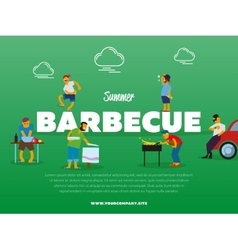 Summer barbecue party banner with people vector image