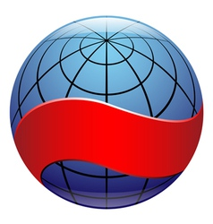 Globe sign with ribbon vector