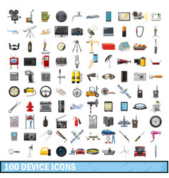 100 device icons set cartoon style vector