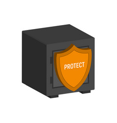 Metal safe with shield financial protection vector