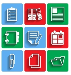 Flat document office icons with shadow vector