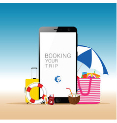 Mobile phone with beach stuff vector