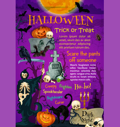Halloween holiday trick or treating poster design vector