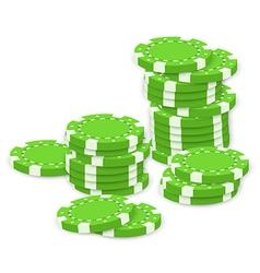 Green poker chips vector image