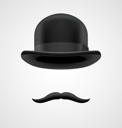 Wealthy gentleman with moustaches and bowler hat vector
