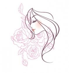 women profile rose vector image