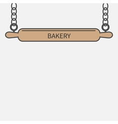Wooden rolling pin plunger chain Bakery signboard vector image