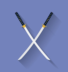 Icon of katana swords flat style vector