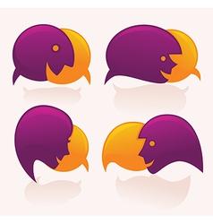 face speech bubbles vector image