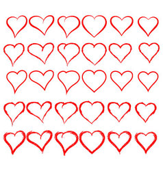 30 different heart shapes vector