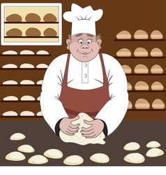 Baker makes the bread in a bakery vector