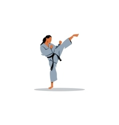 Karate girl sign vector