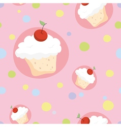 Seamless pattern with cherry cupcakes vector