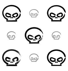 Set of brush drawing simple human skulls vector image