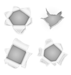 Torn paper holes collection vector