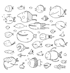 Cartoon bizarre fish collection for kids hand vector